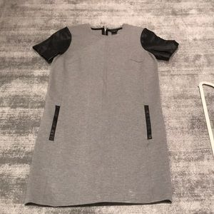 Club Monaco leather cap sleeve dress